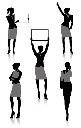 Set of silhouettes of a businesswoman holding a board