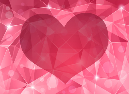 Abstract crystal background with heart