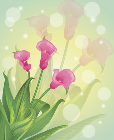 Spring flowers on a pastel background  Ilustração