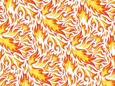 Seamless pattern of fires on the white background