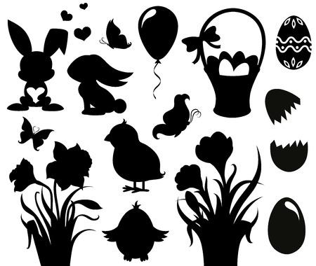 silhouette lapin: Ensemble de silhouettes pour Pâques
