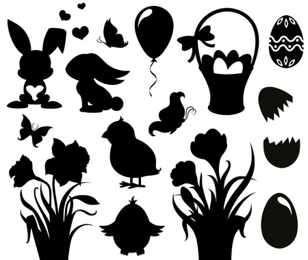 rabbit silhouette: Set of silhouettes for Easter  Illustration