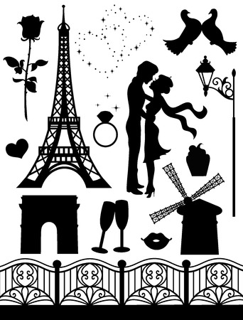 Set of silhouettes on a romantic theme   Vector