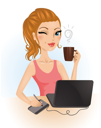 winking: Cute graphic designer drinking a coffee