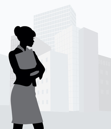 Silhouette of a businesswoman holding a folder   Vector