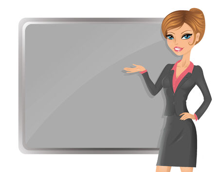 Cute businesswoman pointing to the board  Vector