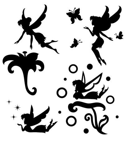 siluetas de animales: Colecciones de siluetas de un hada Vectores