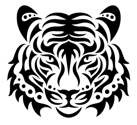 dessin noir et blanc: Tête de tigre