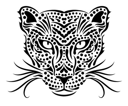 whiskers: Head of a wild leopard  Illustration