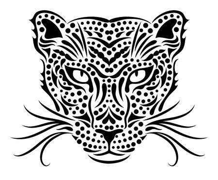 Head of a wild leopard  Illustration