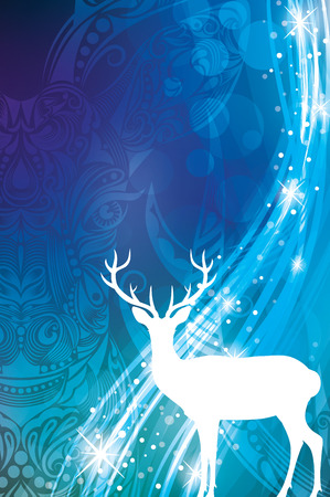 Magic Christmas background in blue colours with silhouette of a deer.