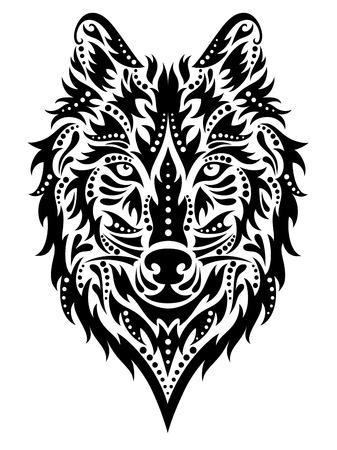 abstract tattoo: Pattern in a shape of a wolf on the white background.