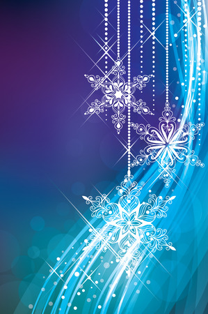 Magic Christmas background in blue colours. Ilustração