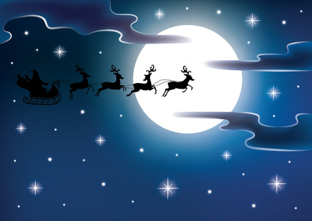 Silhouette of a Santa on a flying sledge harnessed by magic deers. Full moon and stars on the background.
