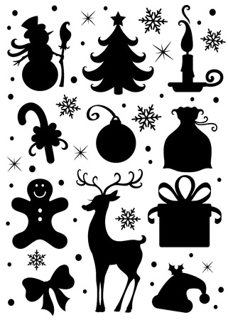 lit candles: Collection of a Christmas icons. Illustration