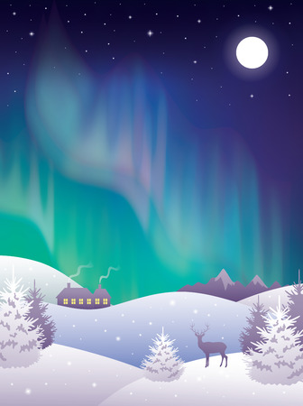 Winter landscape with aurora.