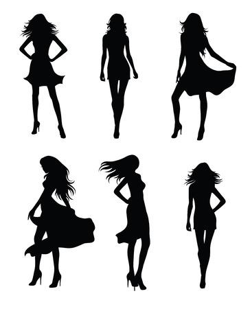 nude black woman: Set of fashion models.
