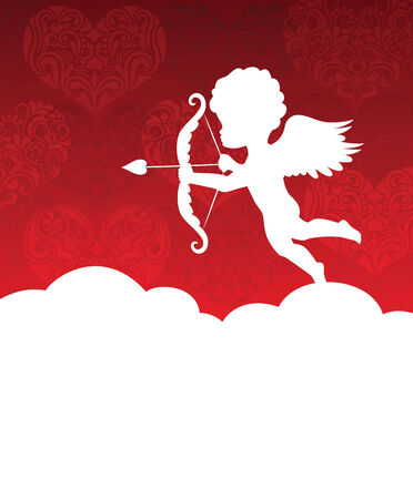 Silhouette of a cupid on the background with hearts. Ilustração