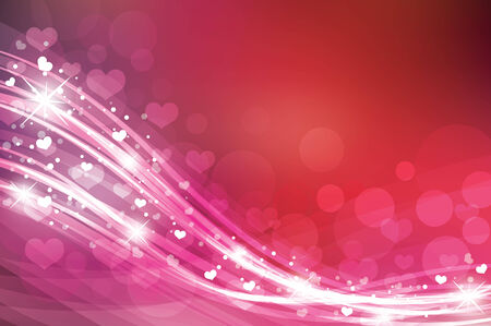 de focused: Valentines day background in red colors with hearts.