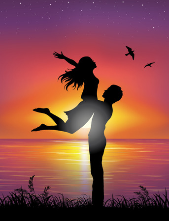 Silhouettes of a man holding a woman. On the background sunset and stars over the sea. Vector