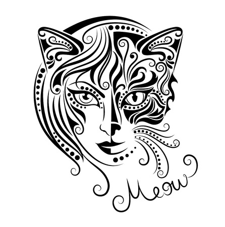 Head of a half woman and half a cat. 版權商用圖片 - 36367928
