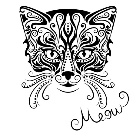 black and white: Vector illustration of cats head on a white background. Illustration