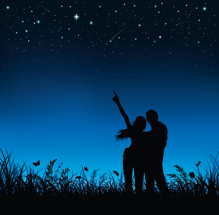 night and day: Silhouette of couple standing and watching the night sky. Illustration