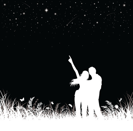 man looking at sky: Silhouette of couple standing and watching the night sky. Illustration