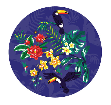 Tropical pattern with toucans and flowers.