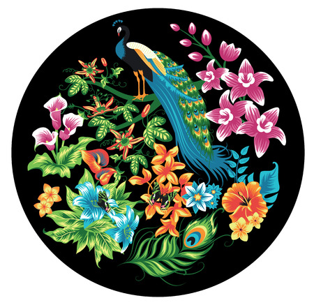 Tropical pattern with peacocks and flowers. Vector