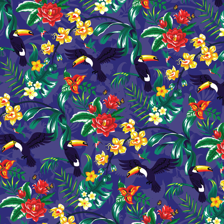 Tropical pattern with toucans and flowers. Vector
