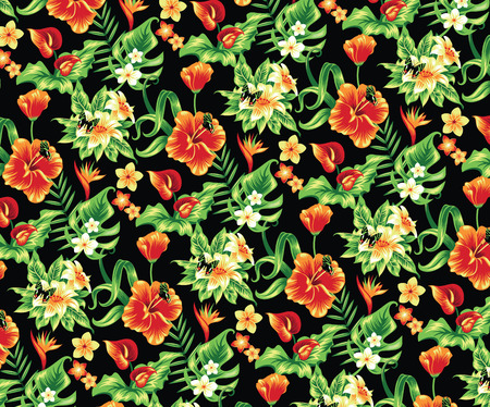 yellow vector: Tropical pattern with flowers and butterflies.