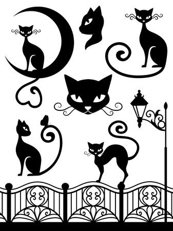 black and white image drawing: Set of cats. Illustration