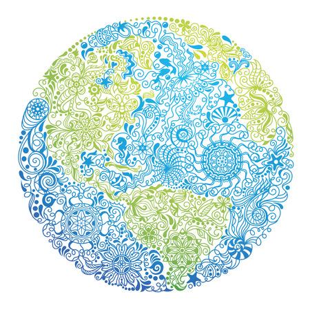 私たちの惑星の形のパターン。  イラスト・ベクター素材