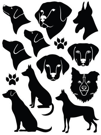 perro labrador: Conjunto de siluetas de perros.