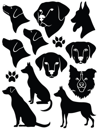 Set of silhouettes of dogs.