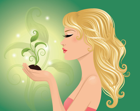 blonde females: Ecofriendly woman holding a plant. Illustration