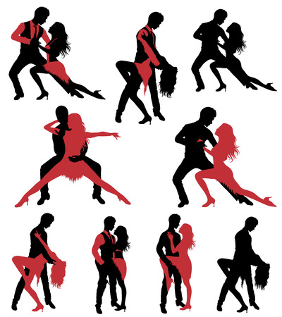 tangoing: Set of dancing silhouettes.