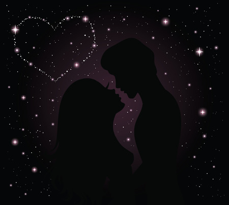 Silhouette of a couple. Night sky with stars on the background.