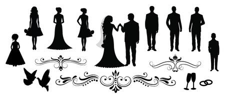 Набор векторных силуэтов свадебных.
