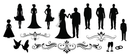 couple embrace: Set of vector wedding silhouettes. Illustration
