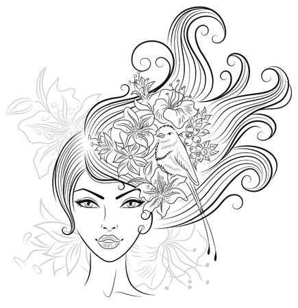 Portrait of a woman with tropical flowers and a bird in her hair.