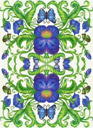 Hand drawing with pastel pencils of a floral pattern. Banco de Imagens - 44151422