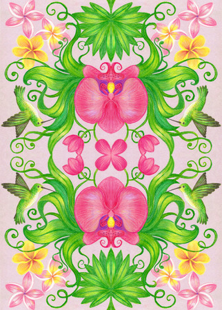 Hand drawing with pastel pencils of a floral pattern.