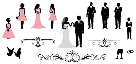 Conjunto de siluetas de la boda del vector. Foto de archivo - 44257669
