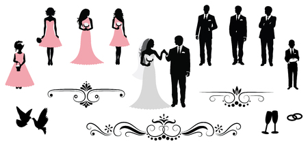 recepcion: Conjunto de siluetas de la boda del vector. Vectores