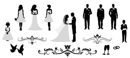 婚禮: 設置的載體婚禮剪影。 向量圖像