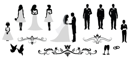 Set of vector wedding silhouettes. Çizim