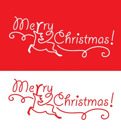 Merry Christmas greeting card with reindeer.
