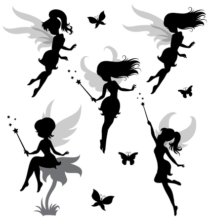 Collections of vector silhouettes of a fairy.